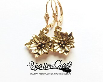 Gold Poinsettia Earrings - Poinsettia Earrings - Christmas Flower Earrings - Holiday Earrings - Christmas Jewelry