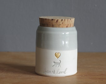 ready made cat urn. white porcelain clay pottery urn with dove grey glaze and gold heart