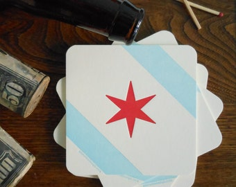 letterpress chicago flag coasters pack of 4 coasters thick paper chicago beer party decoration