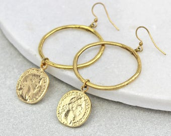 Coin Hoop Earrings - birthday- gift - present - 18th - 21st - 30th - anniversary - Gift for her