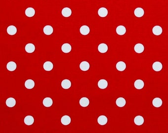 Red Polka dot Fabric by the YARD or BOLT home decor weight upholstery Premier Prints lipstick on white  SHIPsFAST