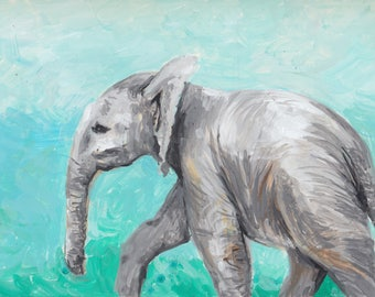 Baby Elephant in Gouache | Original Painting