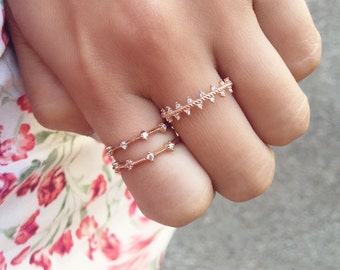 Triangle Band Ring - rose gold band / stacking ring / dainty rose gold ring / layering ring / triangle ring / gifts for her / birthday gift