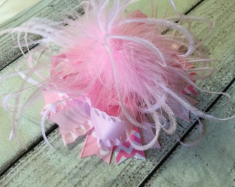 Pink Over The Top Hair Bow,Girls Hair Bow, Over The Top Hair Bows, Baby Headband ,OTT Hair Bow, Ostrich Feather Hair Bow Clip , Boutique Bow