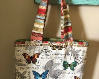 Butterflies Are Free Quilted Tote Bag