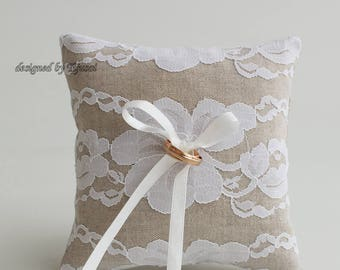 Ring bearer pillow, Rustic  floral lace wedding ring pillow- ring bearer pillow, wedding pillow , ring bearer, ring cushion-ready to ship