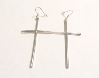 Silver cross earrings, cross jewelry, silver long cross earrings, fashion earrings, perfect gift, gifts for her, birthday present, gifts