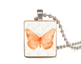 Orange Butterfly Necklace | Butterfly Charm | Butterfly Pendant | Butterfly Jewelry | Graduation Gift | Delicate Necklace | Friend Necklace