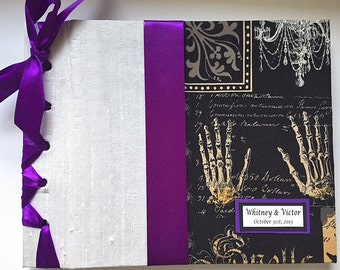 Halloween Wedding Guestbook Gothic Wedding Guest Book Fall Wedding Guest Book Halloween Party Book (Custom Colors Available)