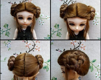 bjd wig doll, hairstyle of a bagel