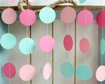 Mint Green, Light Pink, Dark Pink 12 ft Circle Paper Garland- Wedding, Birthday, Bridal Shower, Baby Shower, Party Decorations