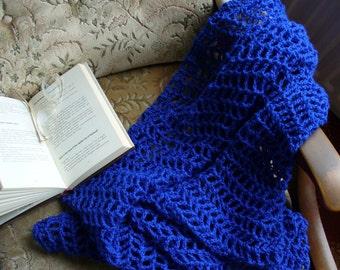 Light'n'Lacy Blue Crochet Lap Blanket
