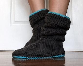 Crochet Pattern-- Women's Slouchy Slipper --Crochet Pattern