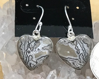 Laguna Lace Agate Heart Earrings