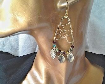 Multicolored swarovski crystal earrings, bronze wire, metal leaf