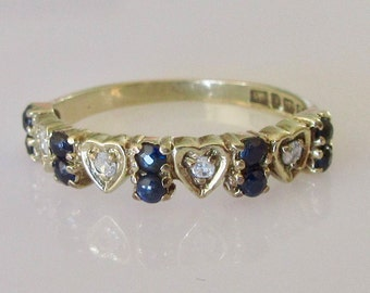 9ct Gold Sapphire and Diamond Heart Ring