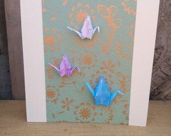 Origami 3 Paper Crane Card