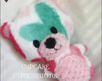 Handmade Little Teddy Bear Rattle and Squeaker - Teal, Pink, Hearts  - Cuddle, Stuffie, Softie, Plush, Chubby, Chunky - Perfect for Babies