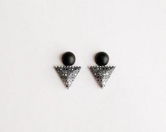 Geometric jewellery Triangle and Circle Earrings earrings Triangle earrings Black Stud earrings Modern earrings Contemporary jewelry