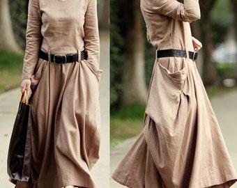 Women Petitle long dress Asymmertrical long dress with pocket Fall dress Evening dress ( WD11140)