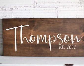 Wedding Gift | Gift For Her | Last Name Sign | Family Name Wood Sign | Anniversary Custom Gift Wedding Established Wood Sign