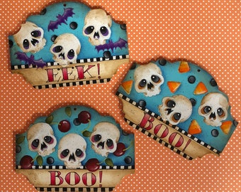 Boo EEK Boo Ornaments E pattern