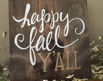 Happy Fall Y'All Wood Sign, Gold Fall Decor, Fall Pallet Art, Rustic Fall Decor, Personalized Pallet Art, Happy Fall Ya'll, Gold Decor