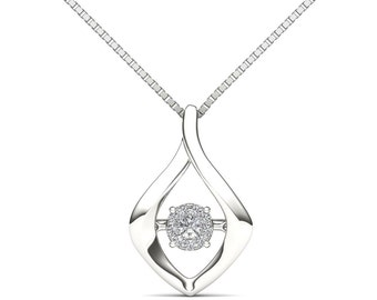 10Kt White Gold Diamond in Motion Pendant