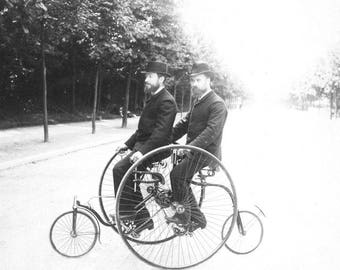 Two Bearded Men One Bicycle Tandem Bike Riders 1890s Dapper Victorian Male Friends Black & White Sepia Vintage Sports Photography Photo