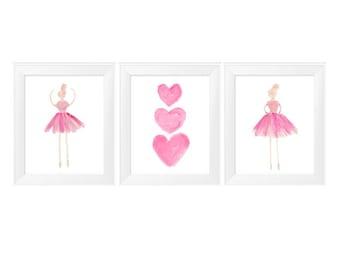 Ballerina Print, Little Girls Wall Decor, 11x14 Set of 3, Ballet Dancer Art, Ballet Wall Art, Ballet Print Set, Dance Prints, Kids Ballet
