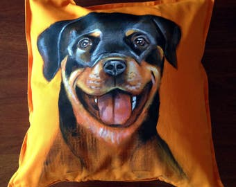 Rottweiler - hand painted cushion cover orange