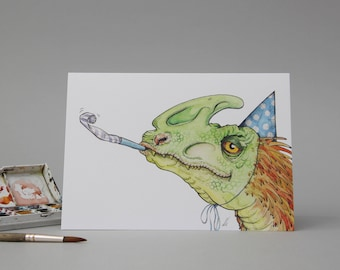 Hand Illustrated Birthday Card: Ain't no party like a Dino Party // party hats //dressing up // feather dinosaur drawing // for kids