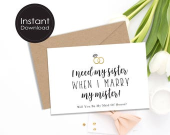 Maid of Honor Proposal Card, Will You Be My Maid of Honor Card, Funny Proposal Card, Maid Of Honour proposal Card, 4 DIGITAL files/2 SIZES