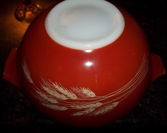 Pyrex#442 Redish Orange1 1/2Quart/ 1.5 LiterWheat AKA Autumn Harvest Cinderella  Mixing Bowl