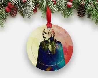 Sacred Stevie Nicks Christmas Ornament, Round Aluminum Circle Holiday Ornament, Stevie Nicks Art Print Stocking Stuffer Fleetwood Mac GIfts