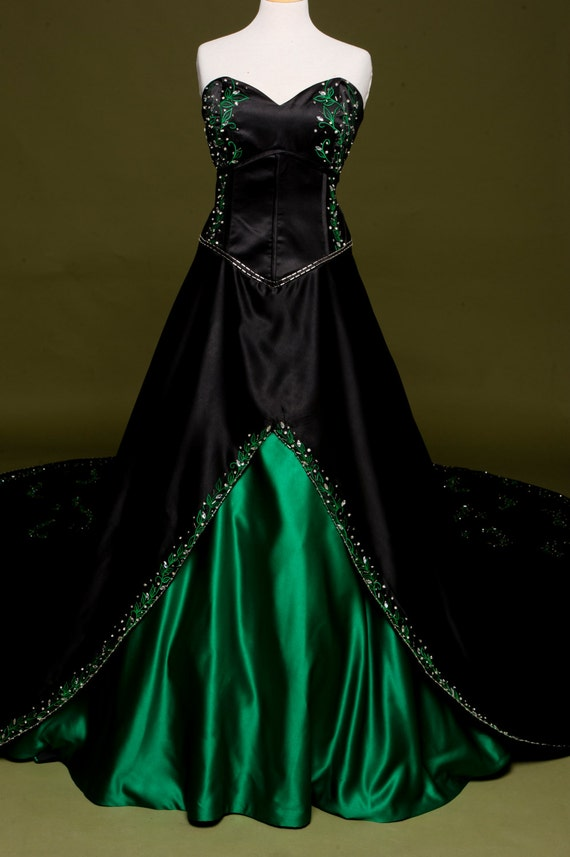 Black wedding dress with green embroidery custom made in like this item junglespirit Images