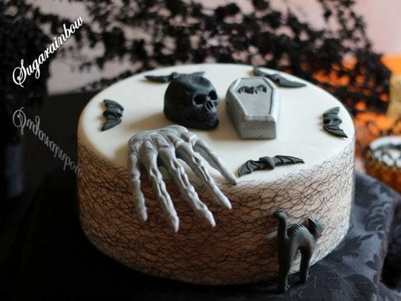 Edible sugar Halloween cake decorations coffin cat bats hand