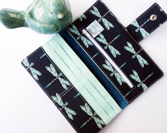 Dragonfly wallet-women's wallet- cute wallet-wife gift- bookworm for her-gifts for bookworms-dragonfly gift-designer fabrics