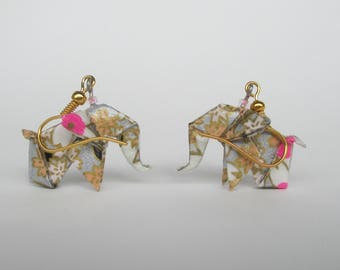 Earrings of African or Asian elephant origami Japanese paper silver white