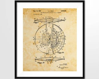 Flying Saucer - 1953 US Airforce Patent - Airforce VTOL, Aviation Art Print, Vintage Aircraft, US Airforce, Digital Download, Wall Art Print