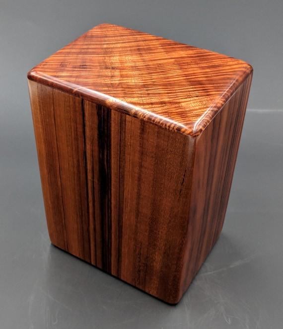 """Large Curly Hawaiian Koa Wooden Memorial Cremation Urn... 7""""wide x 5""""deep x 9""""high Wood Adult Cremation Urn Handmade in Hawaii LK031318-A"""