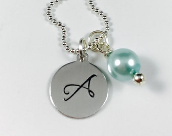 Hand Stamped Initial Tag with Your Color Choice of Pearl - Personalized Charm Necklace