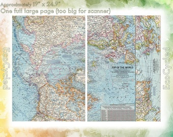 Geographical map etsy vintage atlas map 1960 top of the world north pole national geographic map antique full color gumiabroncs Gallery