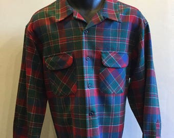 Pendleton Wool Men's Plaid Long Sleeve Shirt Tag Size XL 100% Virgin Wool