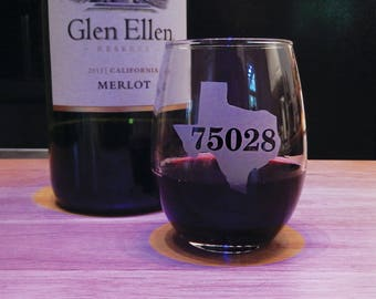 Your Own State & Zip Code Stemless Wine Glass, Personalized Wine Glass, Personalized Stemless Glass, Stemless Wine, Zip Code, Custom Glass