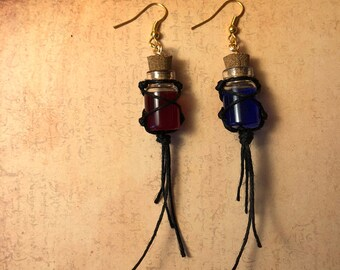 Macrame Style Vial Potion Earrings - Choose from Health, Mana, and more!
