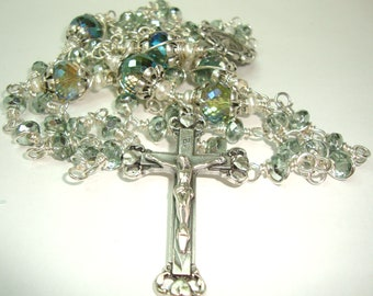 Catholic Rosary, Teal, Miraculous, ovarian cancer, baptism, communion, first communion, Abundant Grace Rosaries. wire wrapped, fre shipping