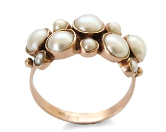 Pearls Gold ring, 14k Rose gold ring,  Multistone ring, Engagement ring, for woman estate ring, large stones ring, gemstone everyday ring,