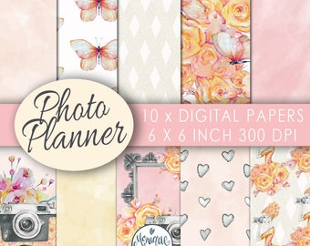Camera girl paper pack,photography, fashion girl,planner stickers,digital background,Graphics resources,pattern,Planner girl,Planner paper