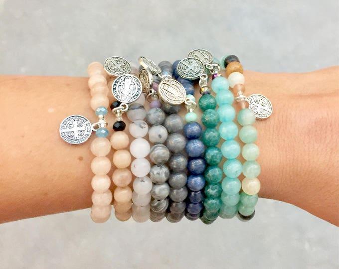 Featured listing image: Agate Stone Saint Benedict Charm Bracelet // Choose Your Color
